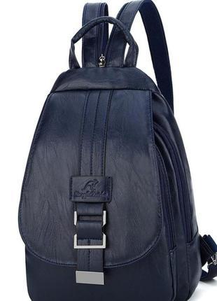 Женский молодежный рюкзак-сумка трансформер пу кожа aliri-00246 синий