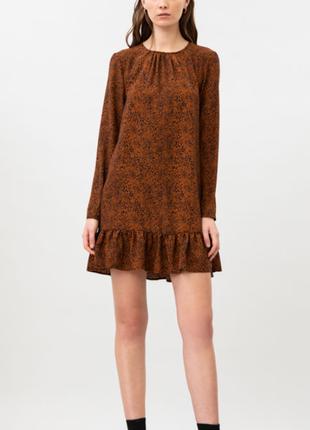 Платье принт длинный рукав воздушное воланы гармошкой колокольчик animal собрано