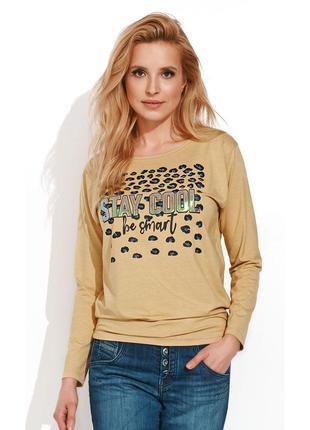 Блузка трикотажная с принтом длинный рукав zaps simza 024 горчичная желтая осенняя зимняя
