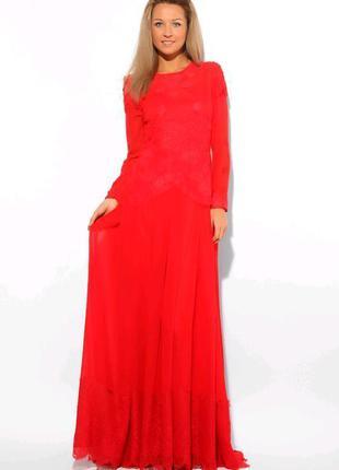 Шикарное длинное красное вечернее, выпускное платье с кружевом и шлейфом nothing but love.