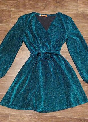 Шикарное платье люрекс на запах 44-46