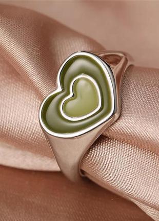 Кольцо сердце стильное тренд колечко сердечки