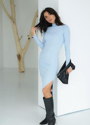Облегающее платье в рубчик миди