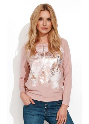 Блузка трикотажная zaps sherri 058 с аппликацией и шнуровкой розовая осенняя зимняя длинный рукав