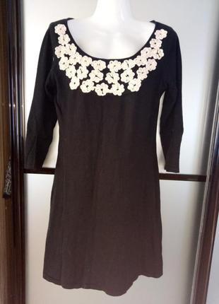 Чёрное короткое трикотажное платье. мини платье хс-с