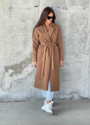Пальто халат кашемир с поясом коричневое теплое осень бежевое мокко длинное