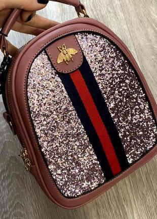Маленький стильный женский рюкзак-сумка пу кожа aliri-00249 розовый
