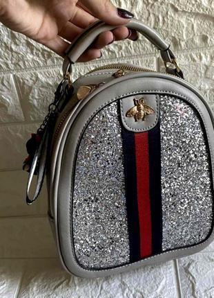 Маленький стильный женский рюкзак-сумка пу кожа aliri-00250 серый