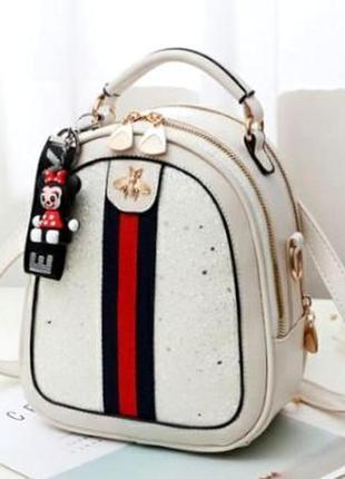 Маленький стильный женский рюкзак-сумка пу кожа aliri-00251 белый