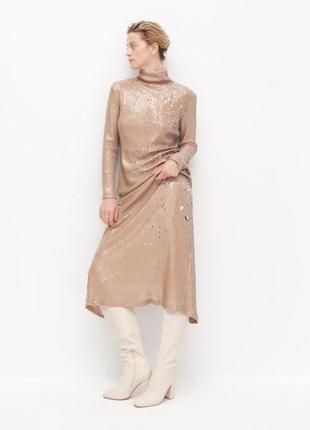Шикарное нюдовое длинное вечернее платье reserved в пайетки.
