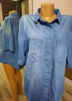 Джинсовая рубашка на короткий рукав, джинсова сорочка