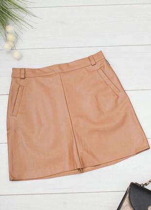 Кожаная коричневая юбка кожаная юбка экокожа