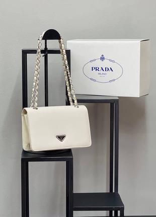 Сумка женская белая в стиле prada на цепочке сумка бренд прада сумочка клатч кросс-боди