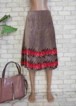 Фирменная laura ashley велюровая юбка миди со 100% хлопка в розах, размер м-ка