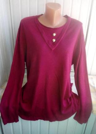 Тонкий коттоновый свитер джемпер большого размера батал