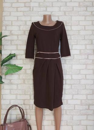 Новое трикотажное сдержаное платье миди в темно коричневом цвете, размер л-хл