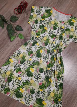 Красочное платье в тропический принт с карманами, натуральная ткань