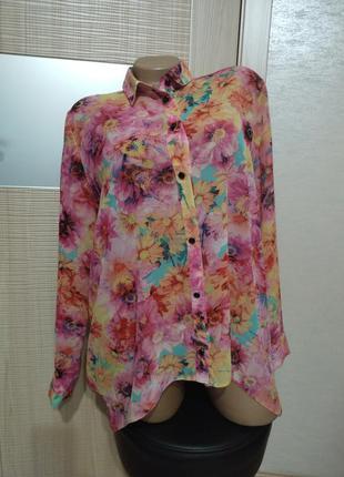 Акция 1+1=3🤩🤑 лёгкая воздушная удлинённая рубашка блуза в цветочный принт