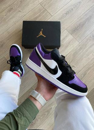Шикарные кроссовки унисекс nike air jordan 1 low court purpple наложка