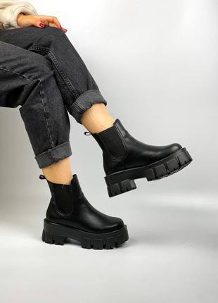 Ботинки челси натуральная кожа чёрные на тракторной подошве