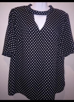 🌺 🌿 🍃 блуза в горохи р.54 🌺 🌿 🍃