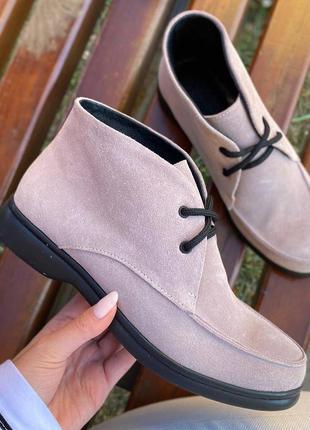 Лоферы ботинки замшывые