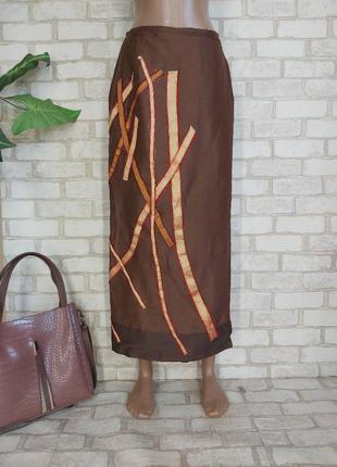 Новая юбка в пол/длинная юбка на запах со 100 % шелка с апликацией, размер 2хл