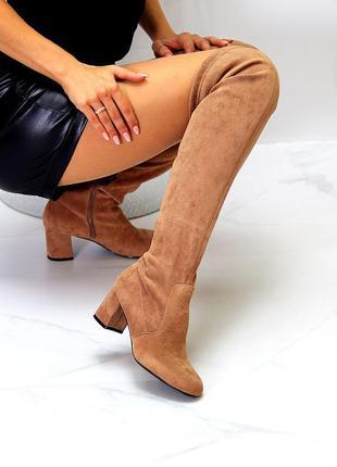 Женские демисезонные бежевые ботфорты-чулки на маленьком каблучке