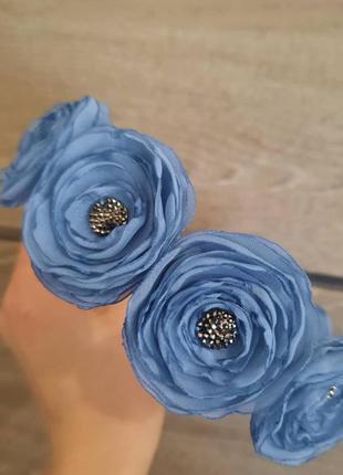 Обруч цветы из ткани, синий