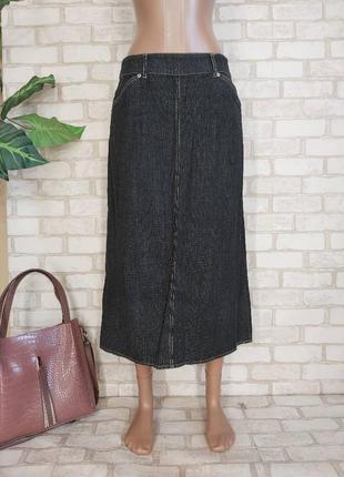 Новая длинная джинсовая юбка в тёмном цвете с боковыми и накладными карманами, размер хл