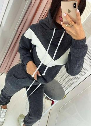 Тёплый костюмчик на флисе графит и серый