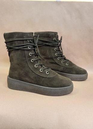 Осенние хаки ботинки демисезонные высокие сапоги