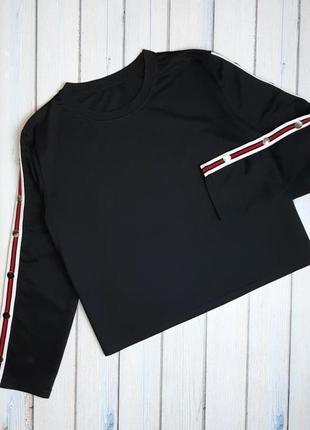 💥1+1=3 модный черный оверсайз свитер с лампасами, размер 48 - 50