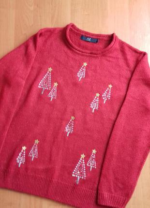 Красивый новогодний свитер с золотистыми елочками размера 14-16.