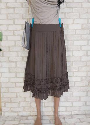 Новая юбка миди со 100 % шелка с имитацией плиссе в коричневом цвете, размер л-хл