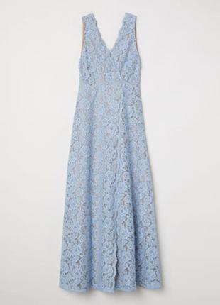 Длинное свадебное, вечерне, выпускное кружевное платье на запах h&m