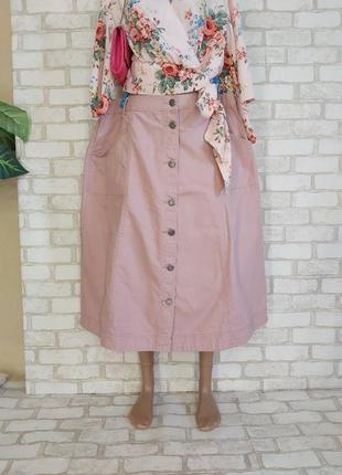 Фирменная julipa джинсовая юбка миди на пуговицах по периметру в цвете пудра, размер 4-5хл