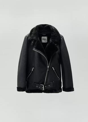 Куртка из искусственной кожи меховая zara 😍