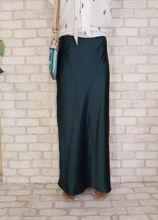 Фирменная topshop юбка в пол в бельевом стиле цвета изумруд/бутылка, размер хл