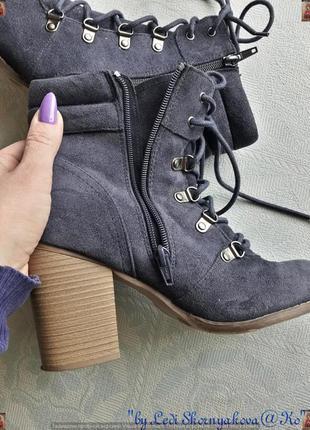 Ботинки осень-весна синего цвета на толстом устойчивом каблуке, размер 39