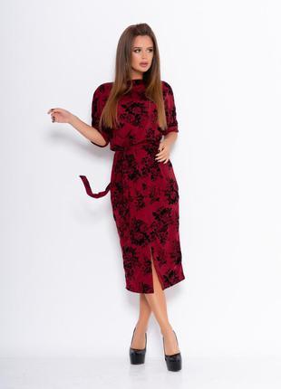 Бордовое красивое платье с фактурными черными розами