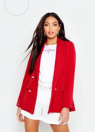Двубортный красный пиджак блейзер от boohoo