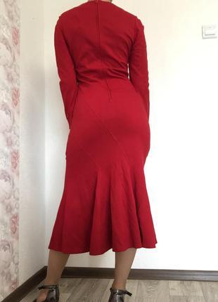 Красное платье миди с длинными рукавами с рюшами с воланом облегающее хлопковое эффектное вечернее