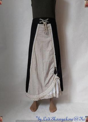 Новая оригинальная юбка в пол/длинная юбка на 50%лен, 40 % хлопок, размер 3хл