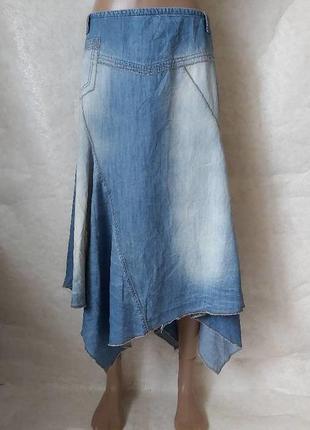 Фирменная per una обладенная юбка в пол/длинная с джинса в клинках, размер 3хл