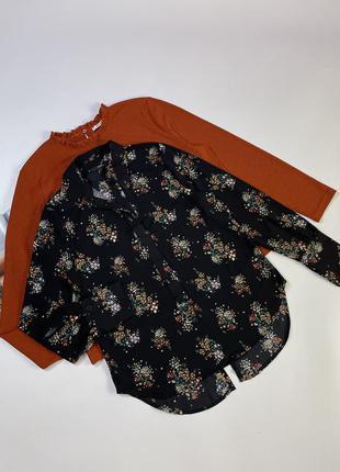 Чёрная блуза в цветочный принт