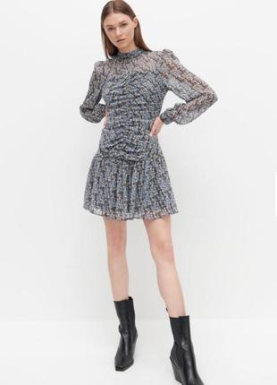 Новое шифоновое платье с актуальным рукавом /сукня от reserved