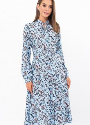 Красивое голубое платье на пуговицах качество 🔥