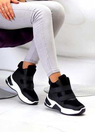 Трендовые миксовые черные женские спортивные ботинки сникерсы на липучках
