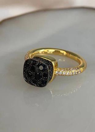 Брендовое кольцо с позолотой, с цирконами